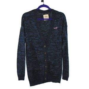 Hollister Button Down Cardigan Sweater S Long Blue